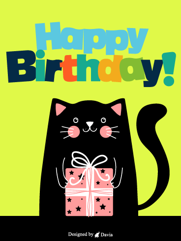 Cat With Present! – Newly Added Birthday Cards