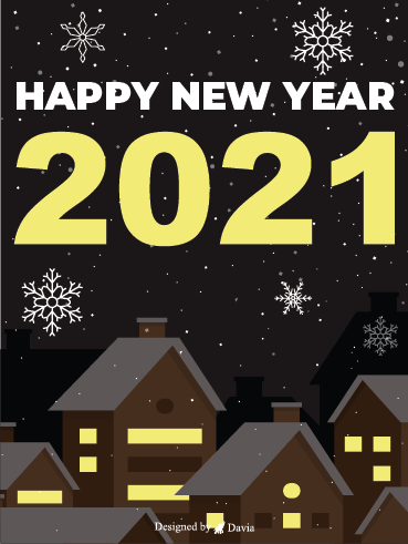 House In Snow – Happy New Year Cards