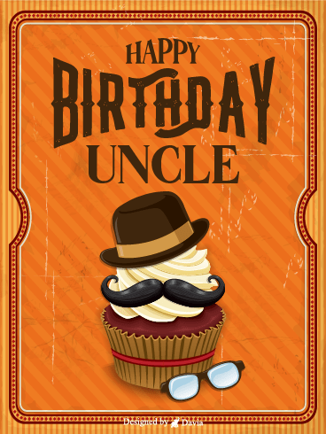 Hat On Cupcake – Birthday For Uncle Cards
