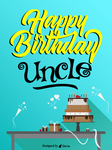 Blue & Cake – Birthday For Uncle Cards