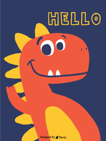 Dino Waves At You – Saying Hi Cards