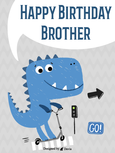T-Rex On A Scooter – Happy Birthday Brother Cards