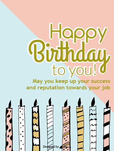 Beautiful Candles – Happy Birthday Co-Worker Cards