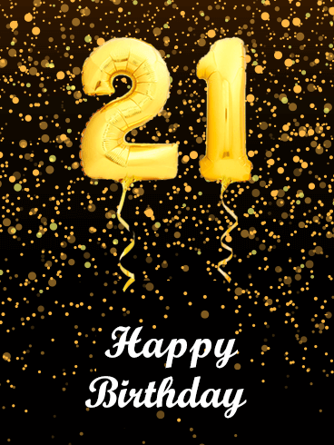 Golden Balloon Happy 21st Birthday Card
