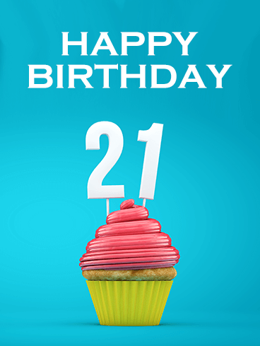 Happy 21st Birthday Cupcake Card