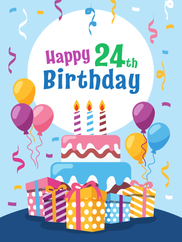 Outstanding Fabulous Cake Presents Happy 24Th Birthday Card Birthday Personalised Birthday Cards Veneteletsinfo
