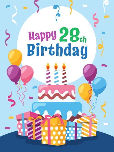 Pleasant Fabulous Cake Presents Happy 28Th Birthday Card Birthday Personalised Birthday Cards Paralily Jamesorg