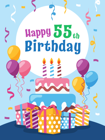 Fabulous Cake & Presents! Happy 55th Birthday Card