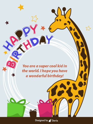 Giraffe  – Happy Birthday Kids Cards