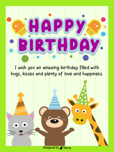 Furry Friends– Happy Birthday Kids Cards