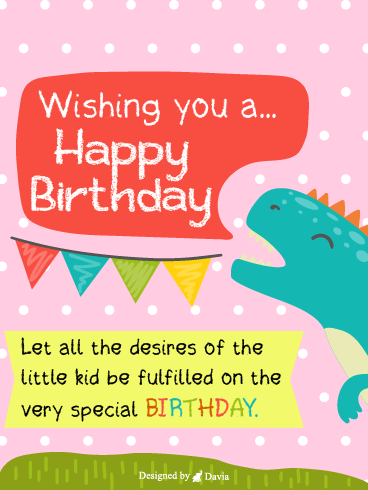T-rex  – Happy Birthday Kids Cards