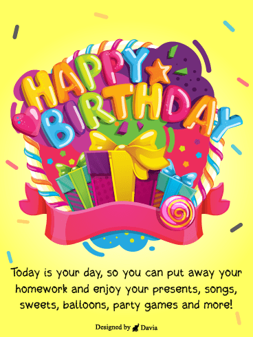 Colorful Presents  – Happy Birthday Kids Cards
