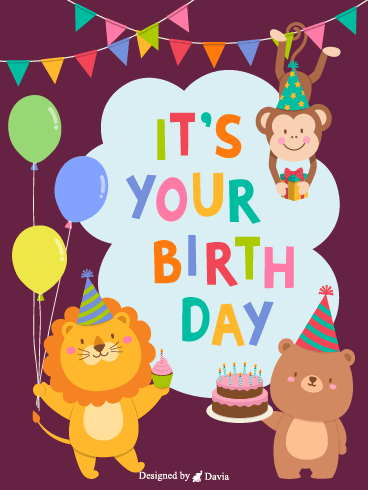 Party Animals  – Happy Birthday Kids Cards