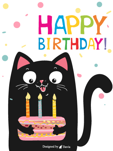 Cute Cat  – Happy Birthday Kids Cards