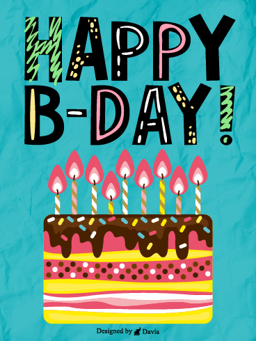Colorful Cake  – Happy Birthday Kids Cards