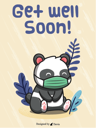 Panda Wearing Mask – Get Well Soon Newly Added Cards