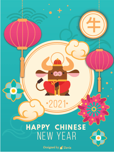 Ox and Lanterns - Chinese New Year Cards