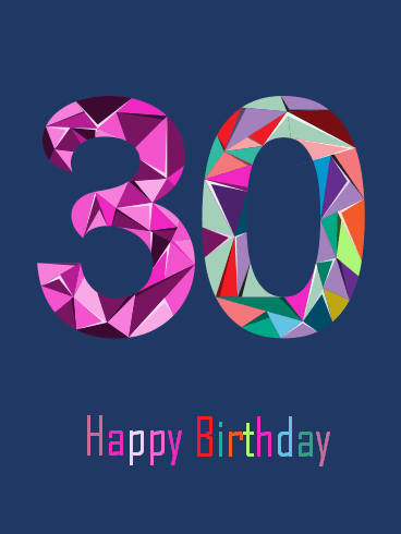 Colorful Happy 30th Birthday Card