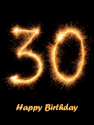 Golden Happy 30th Birthday Card