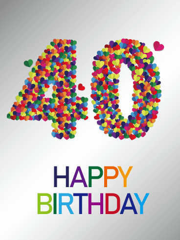 Colorful Happy 40th Birthday Card