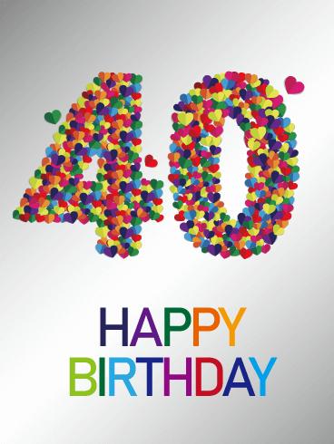 Colorful Happy 40th Birthday Card Birthday Greeting Cards By Davia