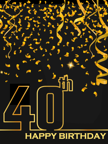 Golden Happy 40th Birthday Card