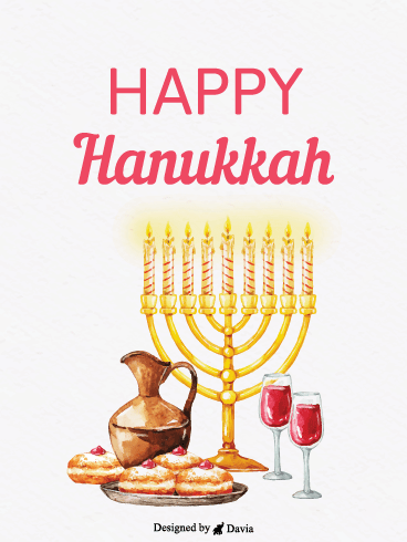 Lights & Foods – Happy Hanukkah Cards