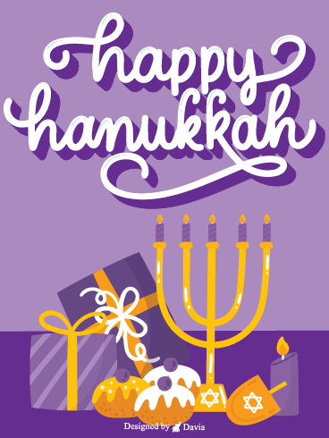 Purple Hanukkah – Happy Hanukkah Added Cards