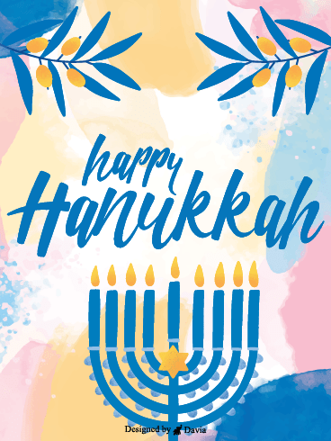 Pastel & Lights – Happy Hanukkah Cards