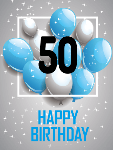 Blue Happy 50th Birthday Card