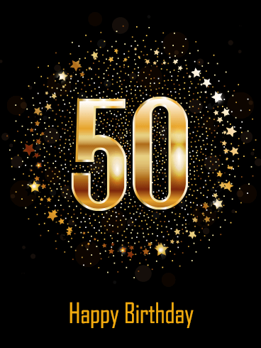 Golden Happy 50th Birthday Card