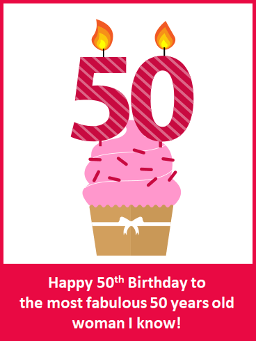 Happy 50th Birthday Cupcake Card