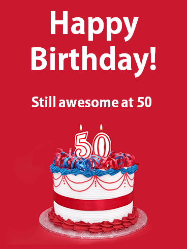 Happy 50th Birthday Cake Card