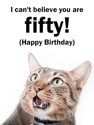 Funny Cat Happy 50th Birthday Card