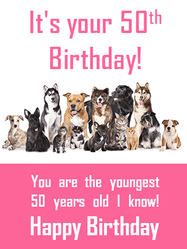 Animal Happy 50th Birthday Card