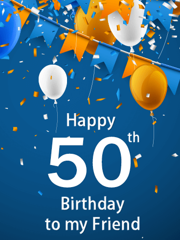 Blue Happy 50th Birthday Balloon Card