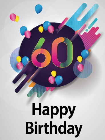 Colorful 60th Birthday Card