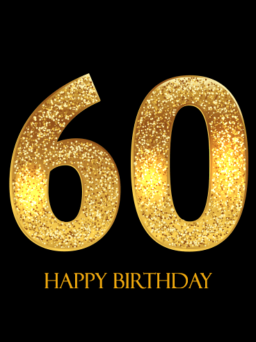 Golden Happy 60th Birthday Card