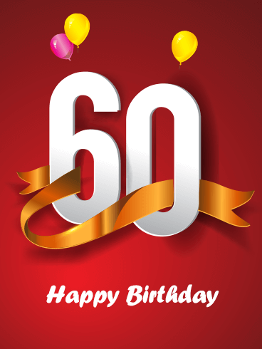 Red Happy 60th Birthday Card