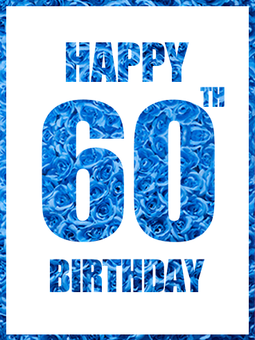 Blue Happy 60th Birthday Card