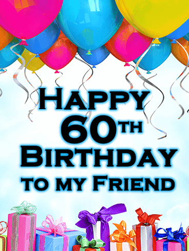 Colorful Balloon Happy 60th Birthday Card