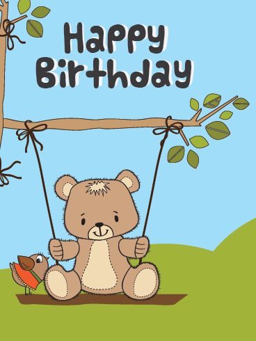 A Bear On A Swing – Happy Birthday Card