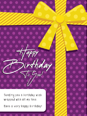 Yellow Ribbon On Top – Happy Birthday Card