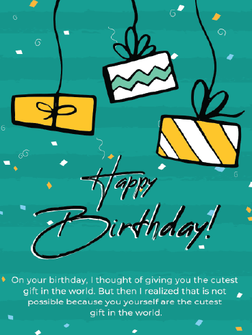 Hanging Gifts – Happy Birthday Card