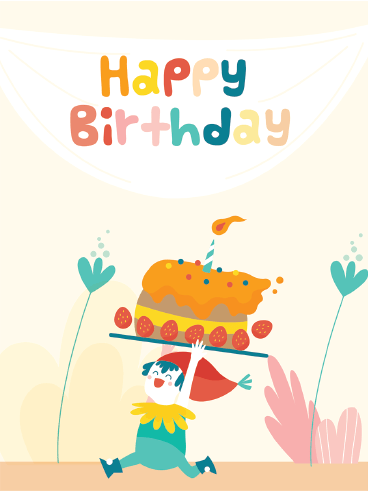 Run With A Cake – Happy Birthday Card