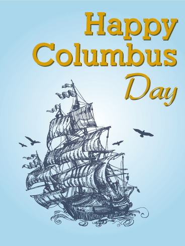 Columbus Day Santa Maria Ship Card