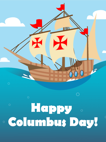 Sea Voyage Columbus Day Card