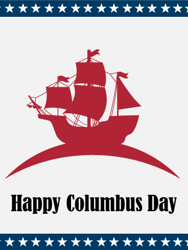 Discovery of the Land! Columbus Day Card