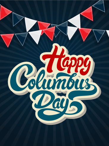 Colorful Flag Columbus Day Card