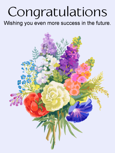 Flower Bouquet Congratulations Card
